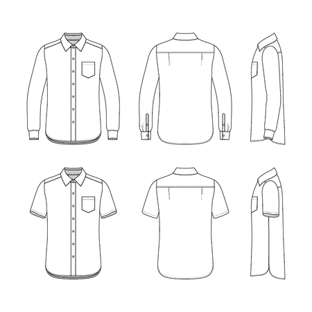 sleeved: Front, back and side views of mens set. Blank templates of shirts with short and long sleeves. Casual style. Vector illustration for your fashion design.