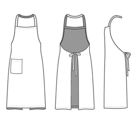 mandil: Frontal, posterior y lateral de delantal. Plantillas en blanco. Ilustraci�n del vector en el fondo de rayas para su dise�o de moda.