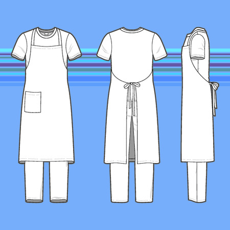uniforms: Front, back and side views of mens set. Blank templates of t-shirt, pants and apron. Casual style. Vector illustration on the striped background for your fashion design.