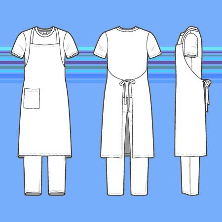 delantal: Frontal, posterior y lateral del conjunto de los hombres. Plantillas en blanco de la camiseta, pantalón y delantal. Estilo casual. Ilustración del vector en el fondo de rayas para su diseño de moda.
