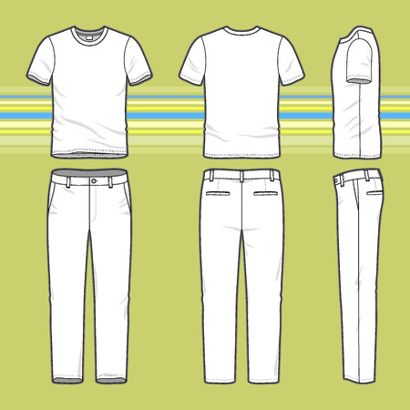 Front, back and side views of mens set. Blank templates of t-shirt and pants. Casual style. Vector illustration on the striped background for your fashion design. Çizim