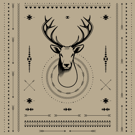 whitetail deer: Deer head. Vector illustration with decor elements in Navajo style.