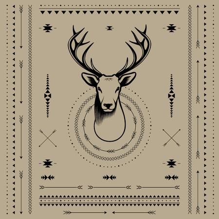 venado cola blanca: Pista de los ciervos. Ilustración vectorial con elementos de decoración en estilo navajo. Vectores