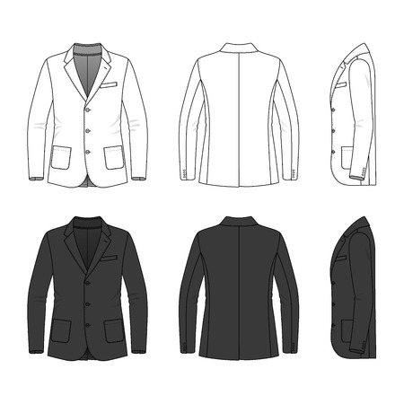 black male: Mens clothing set in white and black colors. Blank template of classic blazer in front, back and side views. Casual style. Vector illustration for your fashion design. Isolated on white. Illustration