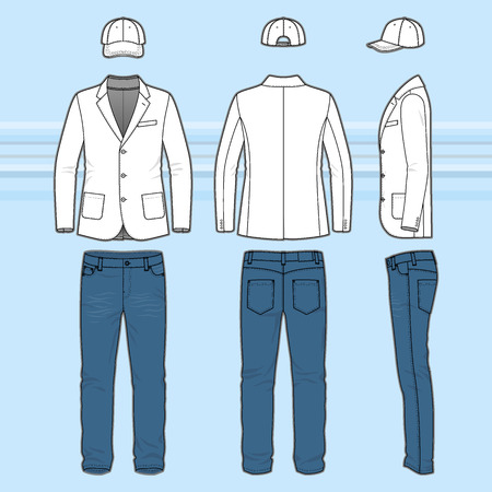 Mens clothing set. Blank template of classic blazer, jeans and cap in front, back and side views. Casual style. Vector illustration on the blue striped background for your fashion design. Illustration
