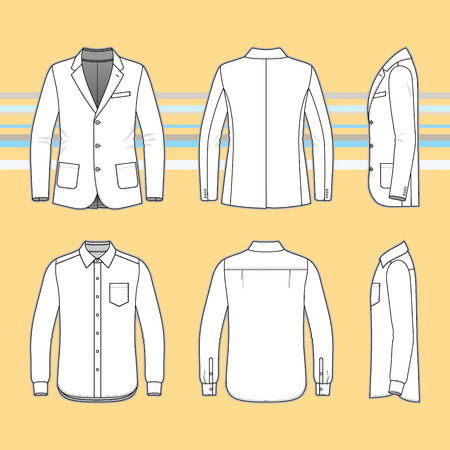 Mens clothing set. Blank template of classic blazer and shirt in front, back and side views. Buisiness style. Vector illustration on the yellow striped background for your fashion design. Ilustração