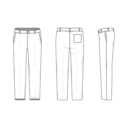 front and back: Blank mens trousers in front, back and side views. Vector illustration. Isolated on white.