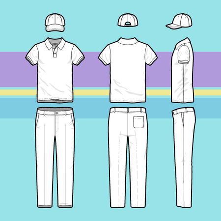 uniform: Front, back and side views of mens golf set. Blank templates of polo t-shirt, cap and pants. Sports uniform. Vector illustration on the striped background for your fashion design.