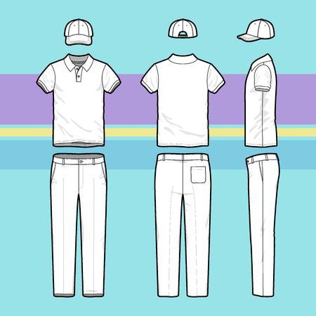 camisas: Frontal, posterior y lateral del conjunto del golf de los hombres. Plantillas en blanco de la camiseta del polo, gorra y pantal�n. Uniforme deportivo. Ilustraci�n del vector en el fondo de rayas para su dise�o de moda.