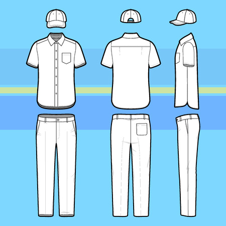 chinos: Mens clothing set. Blank template of shirt with short sleeve, pants and cap in front, back and side views. Casual style. Vector illustration on the striped background for your fashion design.