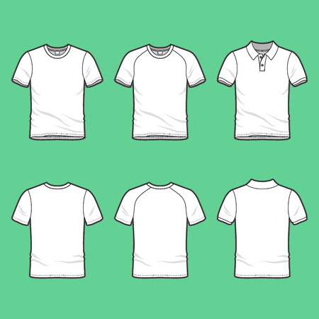 Front and back view of mens clothing set. Blank templates of t-shirt, raglan shirt and polo shirt. Casual style. Vector illustration for your fashion design.