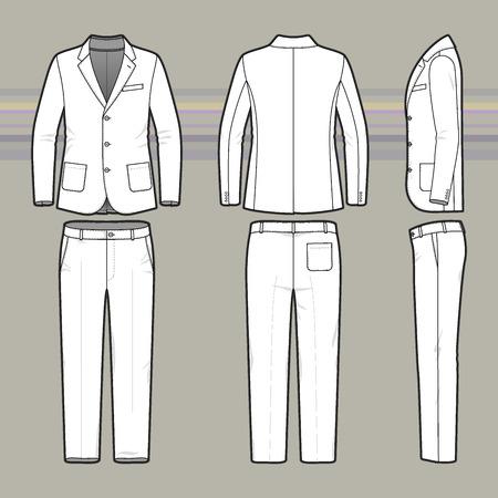 男性のスーツ。服のセットです。空白のテンプレート古典的なブレザーのズボンを前に、バックアップおよびビュー側します。カジュアル スタイル  イラスト・ベクター素材
