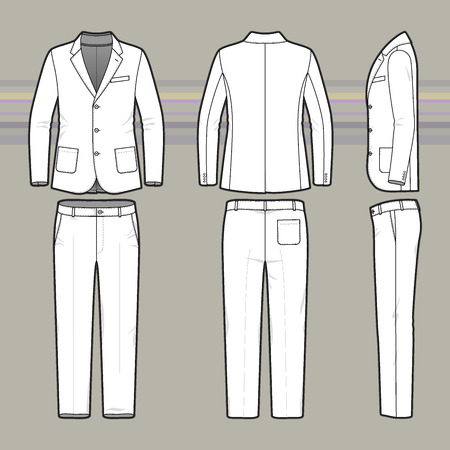 chinos: Mens suit. Clothing set. Blank template of classic blazer and pants in front, back and side views. Casual style. Vector illustration for your fashion design.