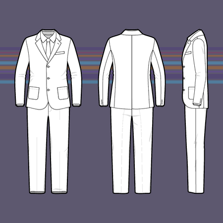 black male: Clothing set. Blank template of a mens suit in front, back and side views. Casual style. Vector illustration for your fashion design.