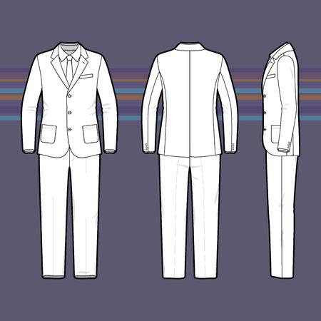 dessin noir et blanc: ensemble de vêtements. Modèle vierge du costume d'hommes en face, de dos et de côté. Style décontracté. Vector illustration pour votre design de mode. Illustration