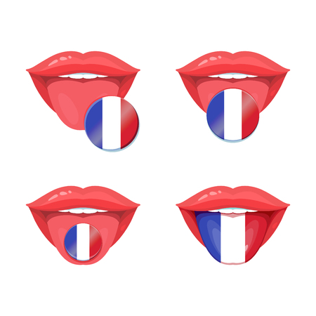 polyglot: Set of of vector tongues with french flags. Vector flag badges.