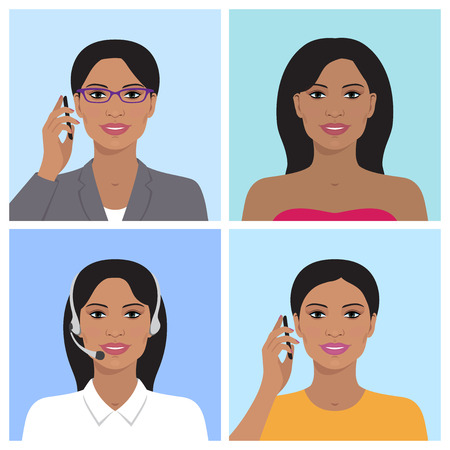 headset: Vector avatar set. Business woman with glasses, talking on the mobile phone. Call-operator in headsets. Indian smiling girl talking on the telephone. Vector flat icons.