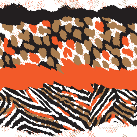 Dynamic dier naadloze patroon met abstracte luipaard, zebra, giraffe bont. Creatief patroon, afdrukken, behang, textiel. Kleurrijke vector achtergrond. Stock Illustratie