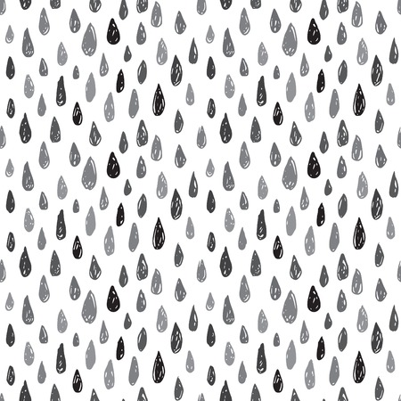 kropla deszczu: Vector seamless pattern with hand drawn black and gray drops on the white background. Pattern may be used for wallpaper, textile and wrapping paper. Hipster style sketch. Ilustracja