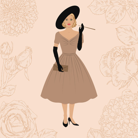 fifties: Elegant woman dressed in New look style. 1950s fashion. Smoking Lady. Floral background. Retro style. Illustration