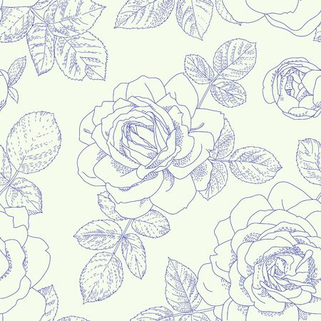 english rose: Floral seamless pattern. Beautiful roses background. Retro style contour drawn illustration. Design may be used for wallpaper, textile, wrapping paper, invitation and greeting cards.