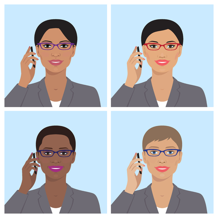 woman cellphone: Vector avatar icon set. Business womens avatars. Women, girls of different nation with glasses, talking on the mobile phone. Vector flat illustration. European, asian, african american, indian women.