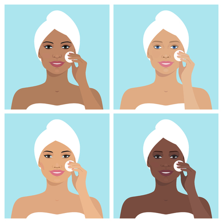 towel: Avatar set of beautiful women. Every woman with towel on her head and cleaning her face with cotton pad. Vector illustration of smiling women. Beauty and health. Flat design. Illustration