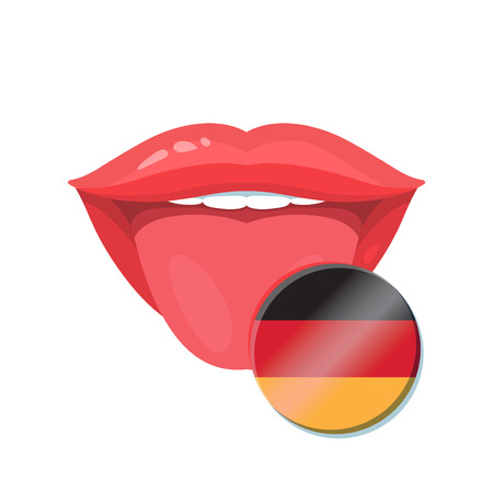 polyglot: Vector illustration of the tongue with german flags. Vector flag badges.