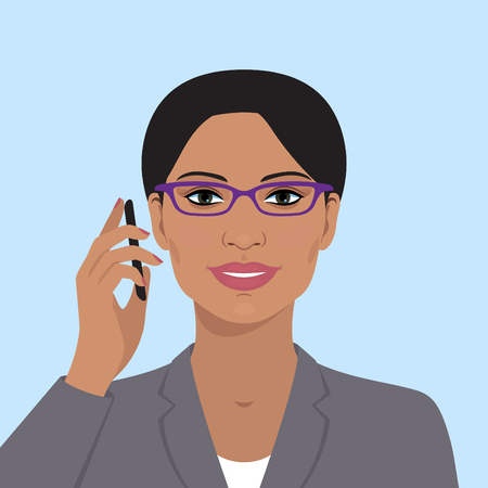 talking phone: Business womans avatar. Indian woman with glasses, talking on the mobile phone. Vector flat illustration. Vector business flat avatar. Indian business woman. Illustration