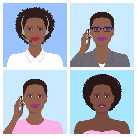Vector avatar set. African american business woman with glasses, talking on the mobile phone. Call-operator in headsets. African attractive smiling girl talking on the telephone. Vector flat icons. Vettoriali