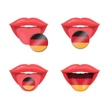 uvula: Set of of vector tongues with german flags. Vector flag badges. Illustration