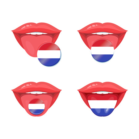 polyglot: Set of of vector tongues with dutch, netherlands, holland flags. Vector flag badges. Illustration