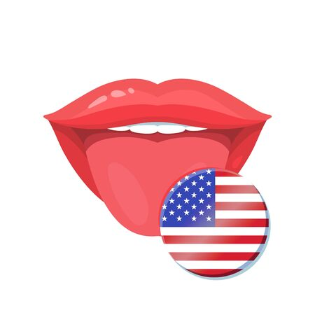 bilingual: Vector illustration of the tongue with american, usa flags. Vector flag badges.