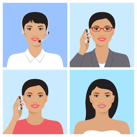 attractive woman: Vector avatar set. Asian business woman with glasses, talking on the mobile phone. Call-operator in headsets. Asian attractive woman. Asian smiling girl talking on the telephone. Vector flat icons.