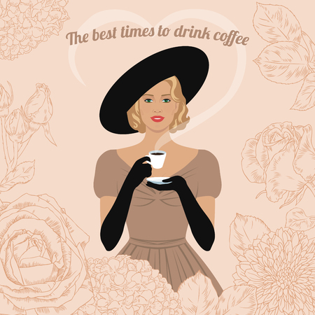 Elegant woman with cup of coffee in her hand. The best time to drink coffee. Vintage poster, card, invitation. Stock Illustratie