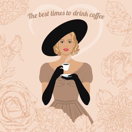 mujeres elegantes: Mujer elegante con la taza de café en la mano. El mejor momento para tomar un café. Cartel de la vendimia, tarjeta, invitación.