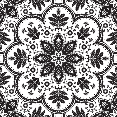home fashion: Vintage victorian pattern. Elegant seamless pattern. Black and white luxury floral pattern for home decor textile, fashion clothes, wrapping paper, wallpaper, backgrounds, scrapbook paper, cards. Illustration