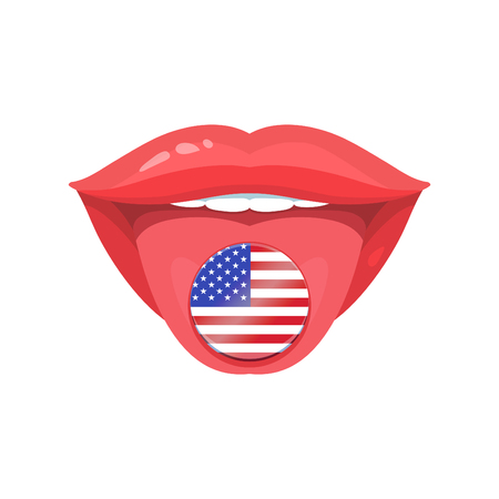 Vector illustration of the tongue with american, usa flags. Vector flag badges. Vetores