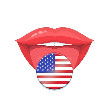 polyglot: Vector illustration of the tongue with american, usa flags. Vector flag badges.