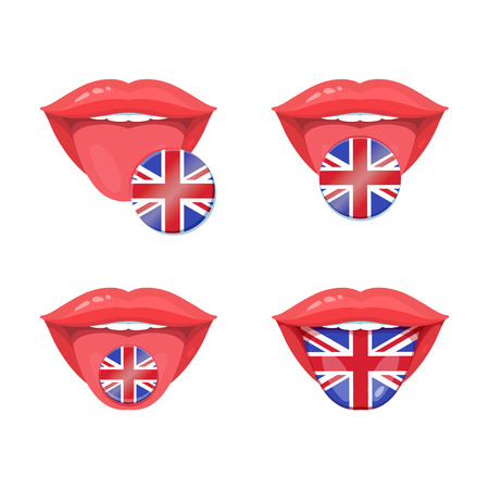 polyglot: Set of of vector tongues with britain, english flags. English flag badges. Illustration