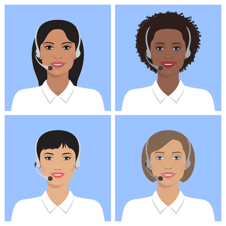 headset: Vector set of call-center operators of different nation in headsets. Vector business flat illustration. European, asian, african american, indian women.