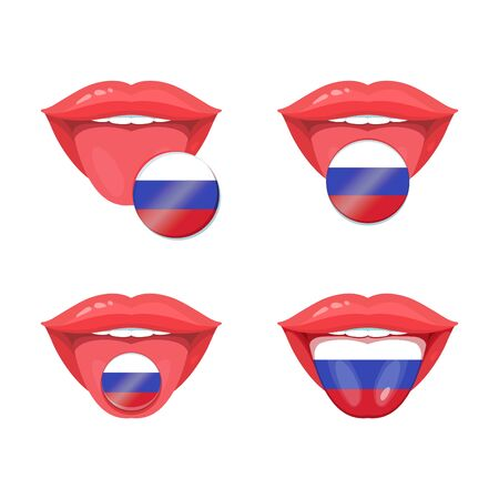polyglot: Set of of vector tongues with russian flags. Vector flag badges.