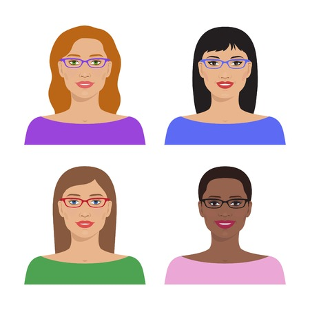 black american: Vector avatar icon set. International portraits. Avatar of womens avatars. Women of different nation. Women, girls with glasses and various hairstyle. Vector flat illustration.