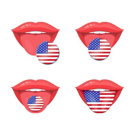 uvula: Set of of vector tongues with american, usa flags. Vector flag badges. Illustration