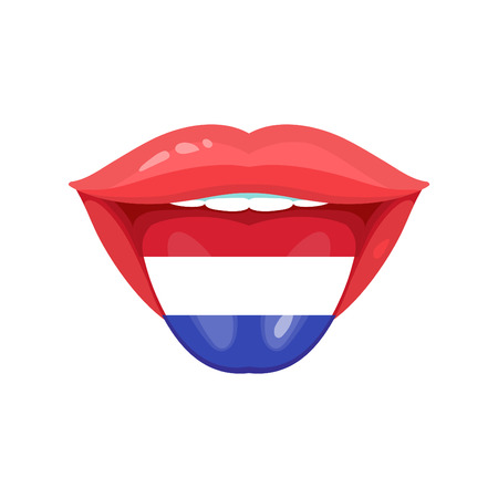 polyglot: Vector illustration of the tongue with dutch, netherlands, holland flags. Vector flag badges. Illustration