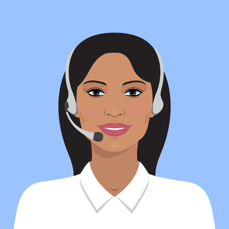 smile icon: Vector illustration of cheerful support phone or call-center operator in headsets. Vector business flat illustration. Indian business woman. Avatar portrait of on line operator. Flat avatar.
