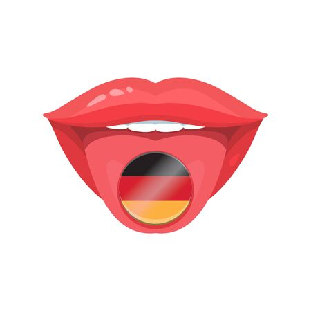uvula: Vector illustration of the tongue with german flags. Vector flag badges.
