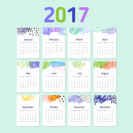 2017 calendar template with colorful doodle decorative elements. Week starts Sunday. Illustration