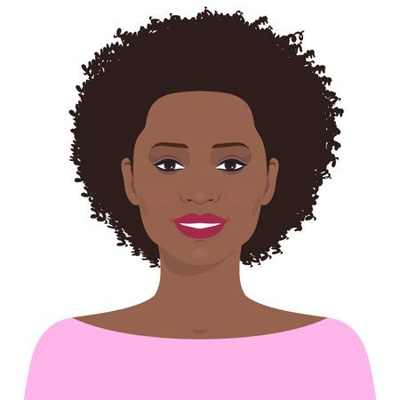 mujeres morenas: cara de mujer plana. Avatar de la muchacha sonriente joven bastante afroamericana.