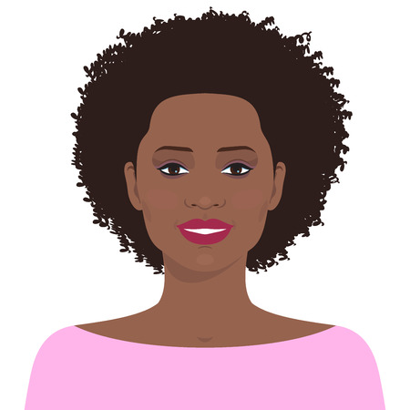 Flat female face. Avatar of smiling pretty African american young girl.